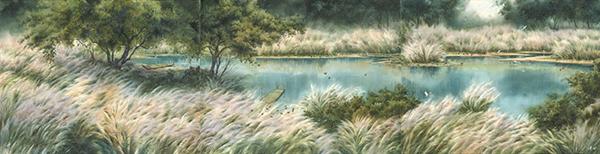 洪東標水彩畫作-寧靜時光