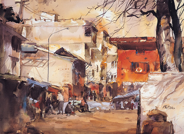 蘇憲法水彩畫作-小城市集