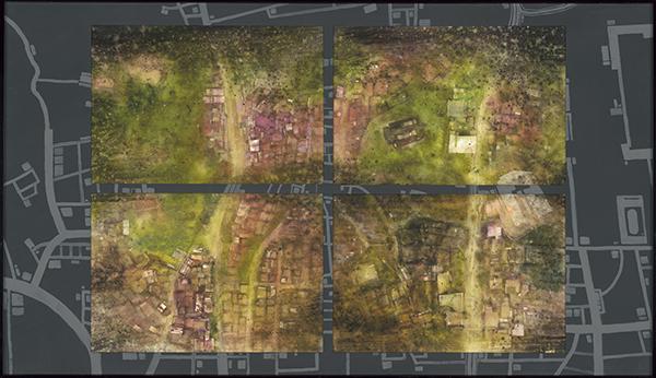 許和捷水彩畫作-首爾三清洞空拍意象