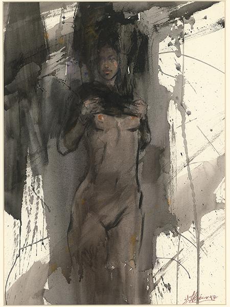 黃進龍水彩畫作-黑色的夢幻
