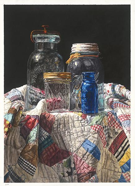 Laurin McCracken,  Jars on Quilt 被褥上的罐子